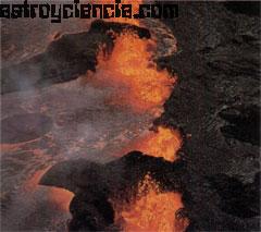 Volcán activo, solo se produce en la biosfera