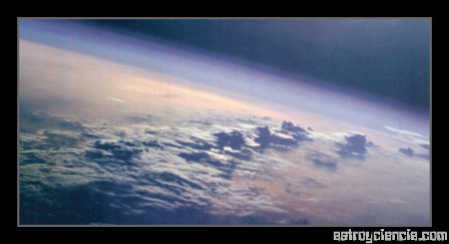 Vista de la atmósfera de la Tierra