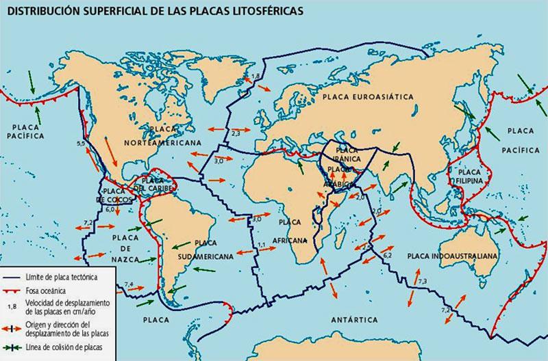 Distribución de las Placas Tectónicas de la Tierra