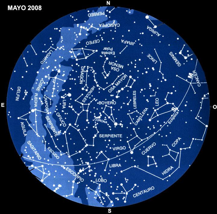 Planisferio del mes de Mayo de 2008