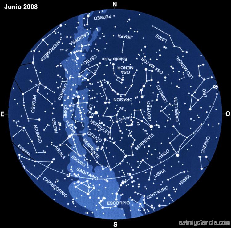 Planisferio del mes de Junio de 2008
