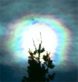 Corona de luz en el cielo