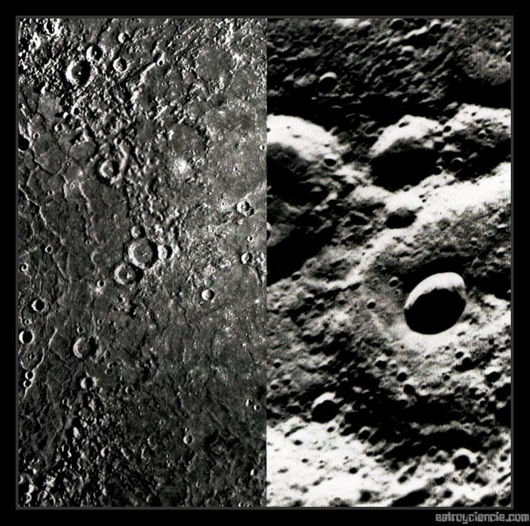 Cráteres y superficie de Mercurio