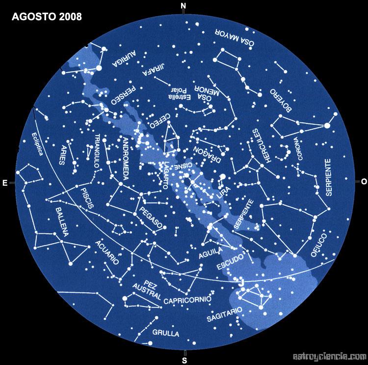 Planisferio del mes de Agosto de 2008