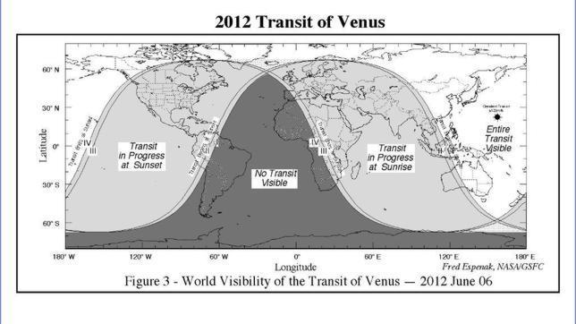 Mapa para comprobar donde se verá el tránsito de Venus