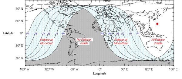 Mapa para ver donde será visible el eclipse de Luna