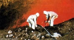 Recogiendo materiales de un volcán