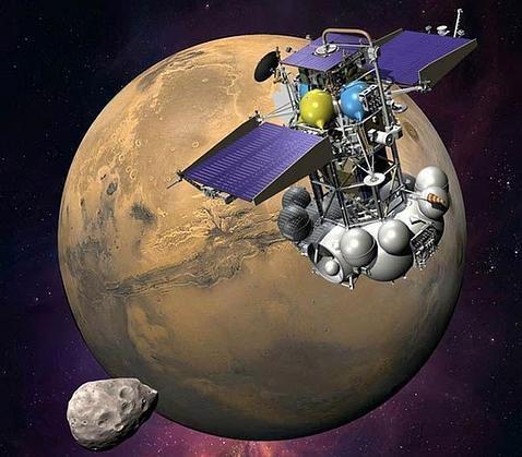 Recreación del Satélite Phobos Grunt aproximándose a Marte