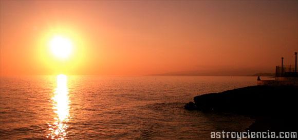 Sol rojo, ejemplo de extinción atmosférica