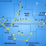 Localizar la constelación de Piscis (Psc) y la constelación de la Ballena (Cet)