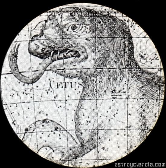 Zoom a la estrella Mira en la constelación de la Ballena