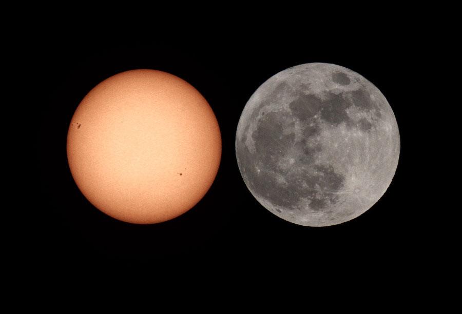 Comparación del Sol con la Superluna de mayo