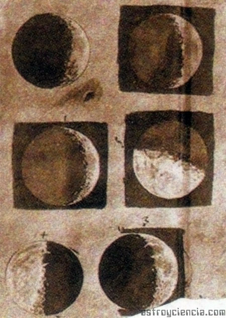 Sidereus Nuncios - Retrato de la luna por Galileo