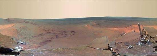 Nueva imagen panorámica de un cráter de Marte